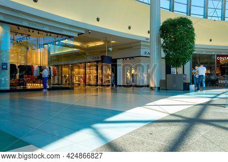 Katowice. Poland 11 May 2021. People Shop Window In Silesia City Center Katowice. Interior Of Retail