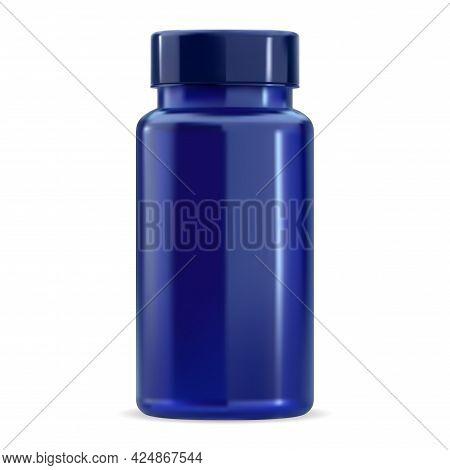 Pill Bottle. Vitamin Supplement Jar Mockup, Blue Plastic 3d Package Sample Without Label, Vector Bla
