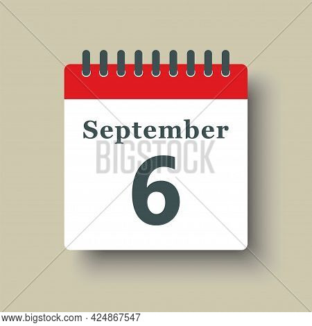 Icon Day Date 6 September, Template Calendar Page