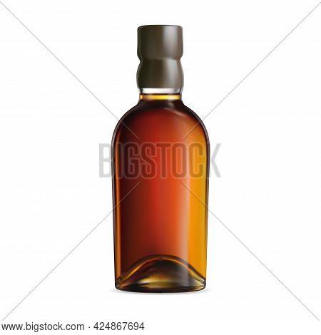 Whiskey Bottle Illustration. Cognac Or Burbon Package. Brandy Alcohol Beverage Jar Design. Old Scotc