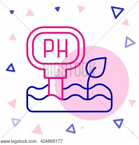 Line Soil Ph Testing Icon Isolated On White Background. Ph Earth Test. Colorful Outline Concept. Vec