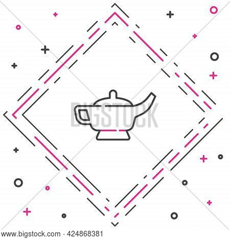 Line Magic Lamp Or Aladdin Lamp Icon Isolated On White Background. Spiritual Lamp For Wish. Colorful