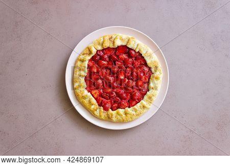 Strawberry Galette Or Open Pie . Baking. Vegetarian Food.