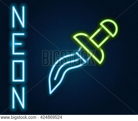 Glowing Neon Line Dagger Icon Isolated On Black Background. Knife Icon. Sword With Sharp Blade. Colo