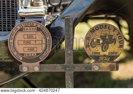 Villiersdorp, South Africa - April 12, 2021: Information Disks On A Ford Model T Vintage Car From 19