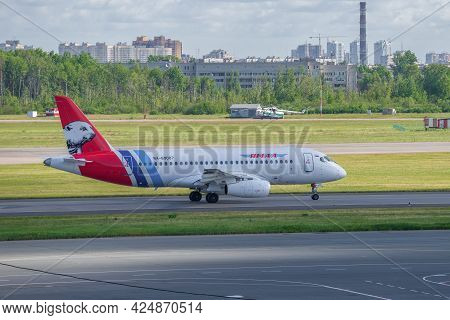 Saint Petersburg, Russia - June 20, 2018: The Plane Sukhoi Superjet 100 (ra-89087) Of Yamal Airlines