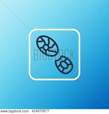 Line Human Footprints Shoes Icon Isolated On Blue Background. Shoes Sole. Colorful Outline Concept.