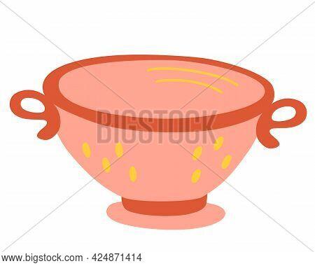 Colander. Kitchen Sieve. Kitchen Utensil Design Element. Cooking, Kitchen, Recipe Concept. Household