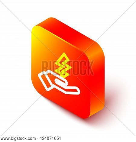 Isometric Line Zeus Icon Isolated On White Background. Greek God. God Of Lightning. Orange Square Bu