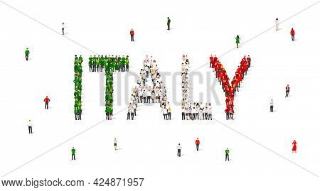A Crowd Of People Stands In Green, White And Red Robes, Making Up The Word Italy. Italy Flag Made Fr