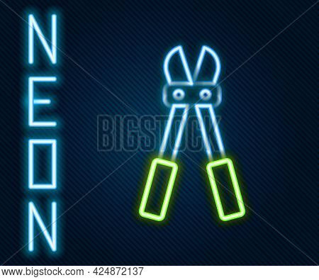 Glowing Neon Line Bolt Cutter Icon Isolated On Black Background. Scissors For Reinforcement Bars Too