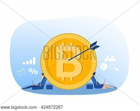The Market Strategy Business With Analyst Bitcoin Symbol Vector Illustrator