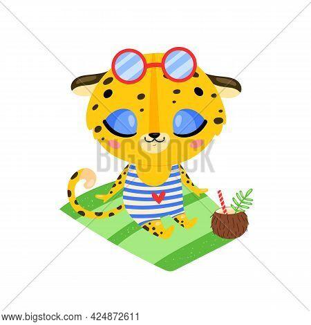 Flat Doodle Cute Cartoon Summer Leopard Sunbathing On The Beach. Tropical Jungle Animals
