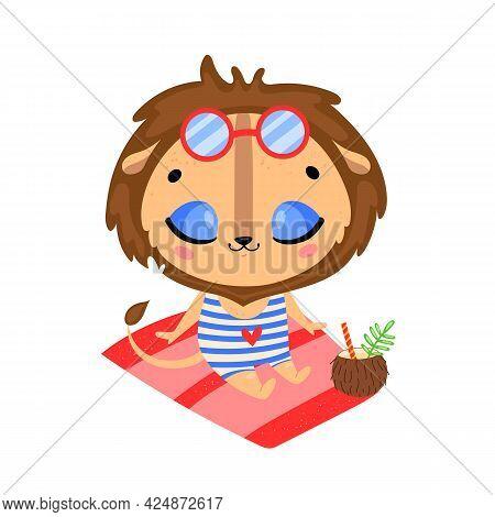 Flat Doodle Cute Cartoon Summer Lion Sunbathing On The Beach. Tropical Jungle Animals