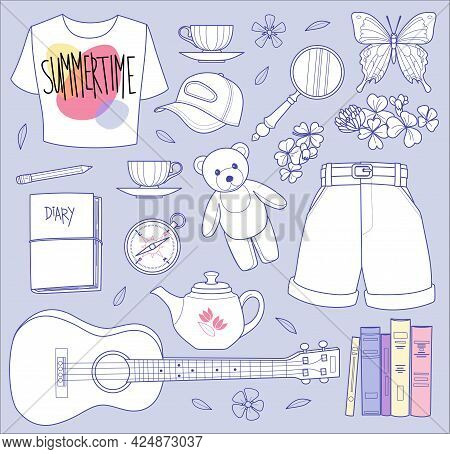 Summertime Set With Different Vacation Elements And Flowers