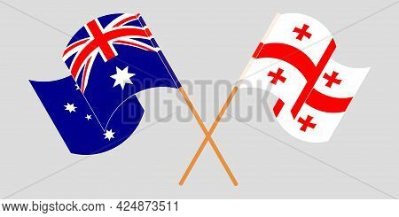 Crossed And Waving Flags Of Georgia And Australia