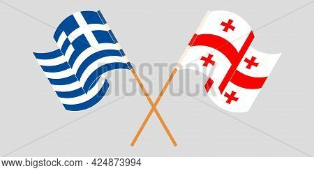 Crossed And Waving Flags Of Georgia And Greece