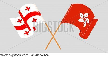 Crossed And Waving Flags Of Georgia And Hong Kong