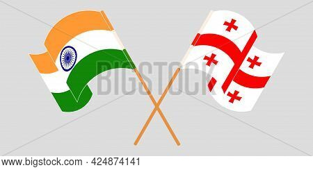 Crossed And Waving Flags Of Georgia And India
