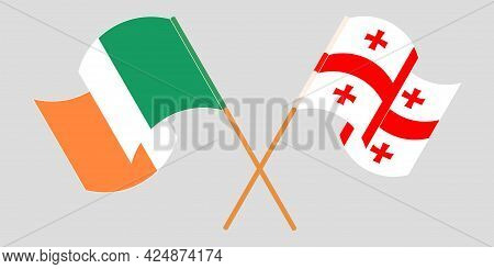 Crossed And Waving Flags Of Georgia And Ireland