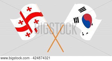 Crossed And Waving Flags Of Georgia And South Korea