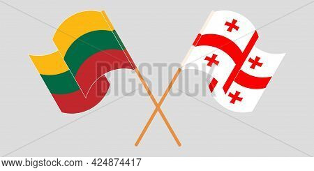 Crossed And Waving Flags Of Georgia And Lithuania
