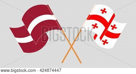 Crossed And Waving Flags Of Georgia And Latvia