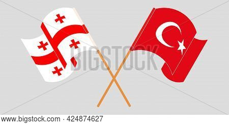 Crossed And Waving Flags Of Georgia And Turkey