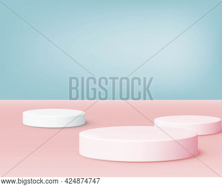 The Studio Showcases A Simulated Blue And Pink Two-tone Background With A Soft Feel To Make Your Wor