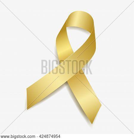 Gold Ribbon Awareness Childhood Cancer, Neuroblastoma, Retinoblastoma. Isolated On White Background.