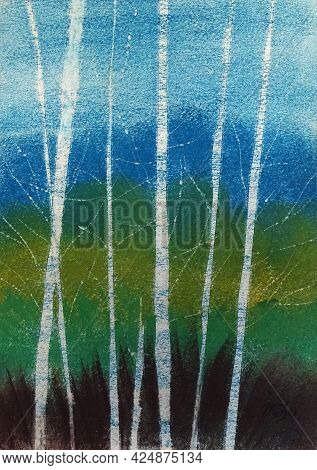 Birch Forest. Illustration Of An Art Painting. Pastel On Paper.