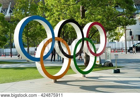 Shinjuku City, Tokyo, Japan - June 12, 2021: Close-up Of Olympic Rings In Front Of New National Stad