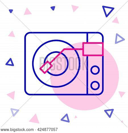 Line Vinyl Player With A Vinyl Disk Icon Isolated On White Background. Colorful Outline Concept. Vec