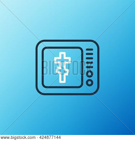 Line Online Church Pastor Preaching Video Streaming Icon Isolated On Blue Background. Online Church