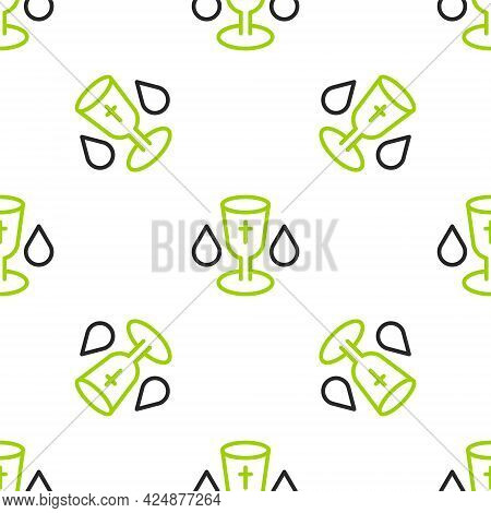 Line Christian Chalice Icon Isolated Seamless Pattern On White Background. Christianity Icon. Happy