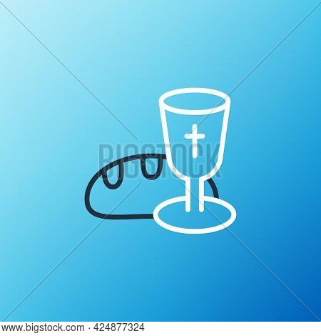 Line Goblet And Bread Icon Isolated On Blue Background. Bread And Wine Cup. Holy Communion Sign. Col
