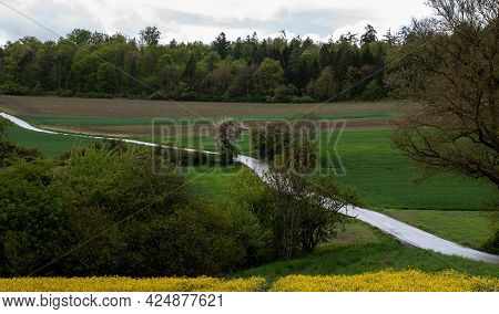 A Hilly Landscape In Swabian Alb On A Rainy Day In Springtime