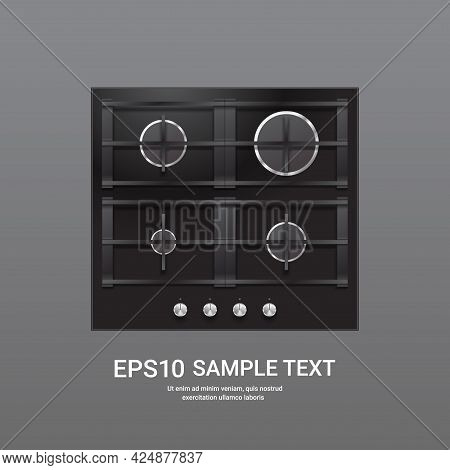 Kitchen Steel Four Burner Gas Hob Top View Of Stove Domestic Equipment Home Appliance Concept