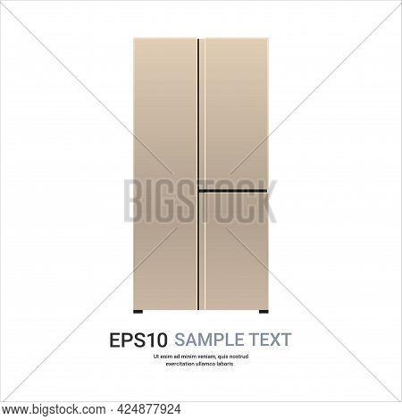 Golden Refrigerator Side By Side Fridge Freezer Modern Kitchen Household Home Appliance Concept