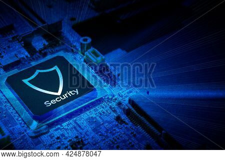Privacy Secure. Network Security Technology With Computer Processor Chip On Digital Motherboard Back
