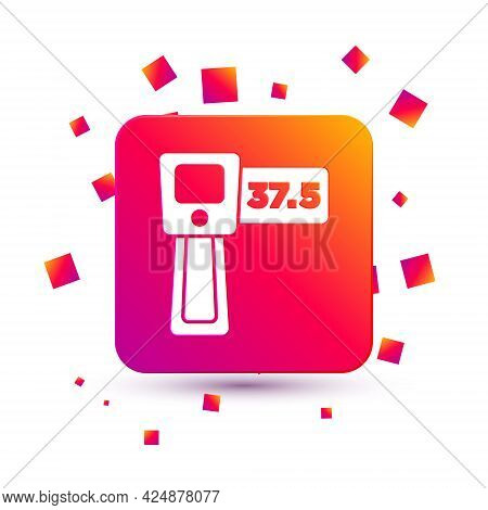 White Digital Contactless Thermometer With Infrared Light Icon Isolated On White Background. Square