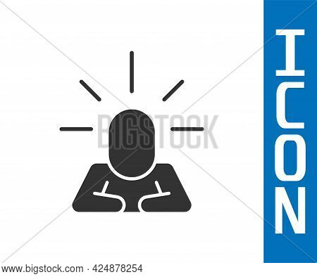 Grey Depression And Frustration Icon Isolated On White Background. Man In Depressive State Of Mind.