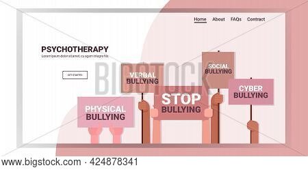 Mix Race Activists Hands Holding Stop Bullying Banners Social Anxiety Psychotherapy Concept
