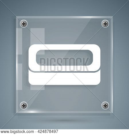 White Bar Of Soap Icon Isolated On Grey Background. Soap Bar With Bubbles. Square Glass Panels. Vect