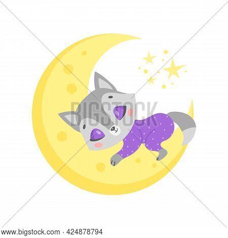 Vector Illustration Of A Cute Cartoon Wolf Sleeping On The Moon. Baby Animals Are Sleeping.