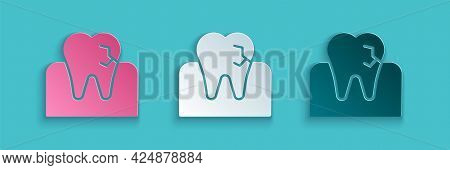Paper Cut Tooth With Caries Icon Isolated On Blue Background. Tooth Decay. Paper Art Style. Vector