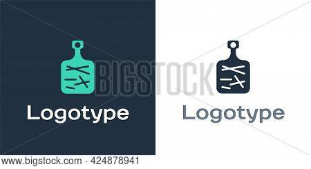 Logotype Cutting Board Icon Isolated On White Background. Chopping Board Symbol. Logo Design Templat