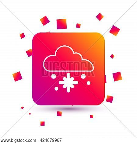 White Cloud With Snow Icon Isolated On White Background. Cloud With Snowflakes. Single Weather Icon.