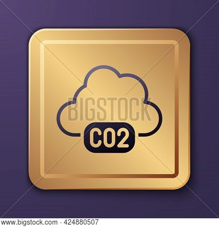 Purple Co2 Emissions In Cloud Icon Isolated On Purple Background. Carbon Dioxide Formula, Smog Pollu
