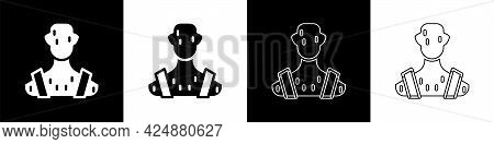 Set High Human Body Temperature Or Get Fever Icon Isolated On Black And White Background. Disease, C